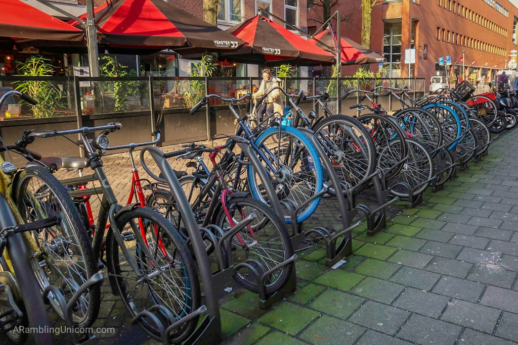 Amsterdam Blog post. All the bike racks were filled with bikes. Seemed like a lot of competition for bike parking.