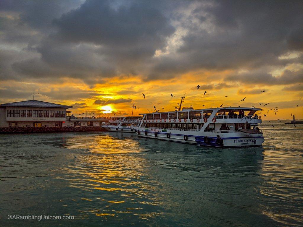 Bosphorus Sunset from the ferry dock in the Kadıköy neighborhood.