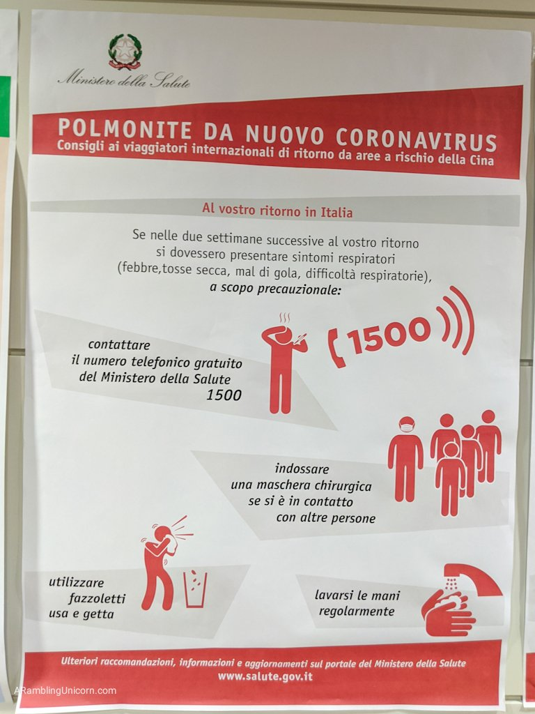These signs about Coronavirus were posted in the Venice Airport when we arrived on February 10