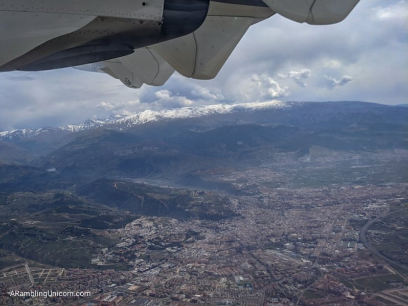 Airline travel during the COVID-19 Pandemic: View of the Sierra Nevada mountains from the airplane leaving Granada. Someday I will return and do some hiking here!