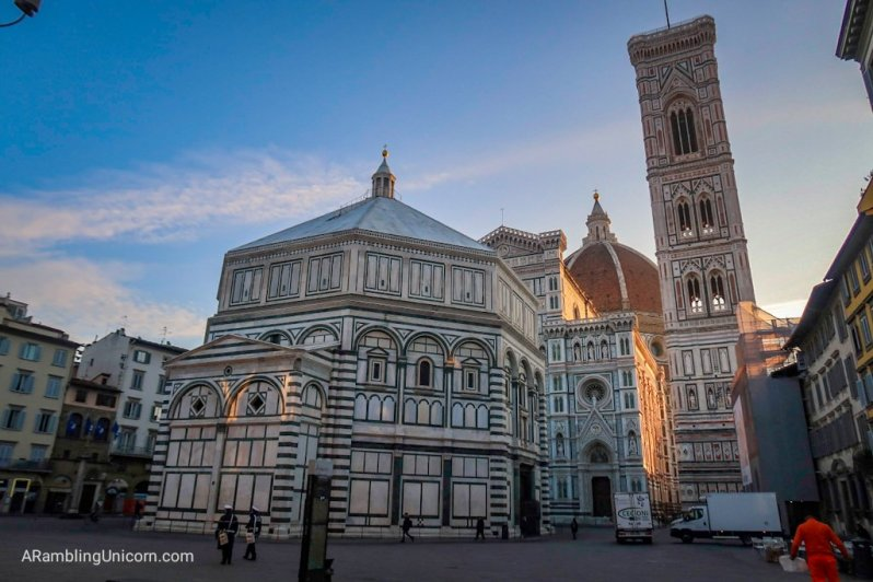 The Baptistery Building in the Florence Cathedral Complex. The Cathedral and Campanile are visible in the background.