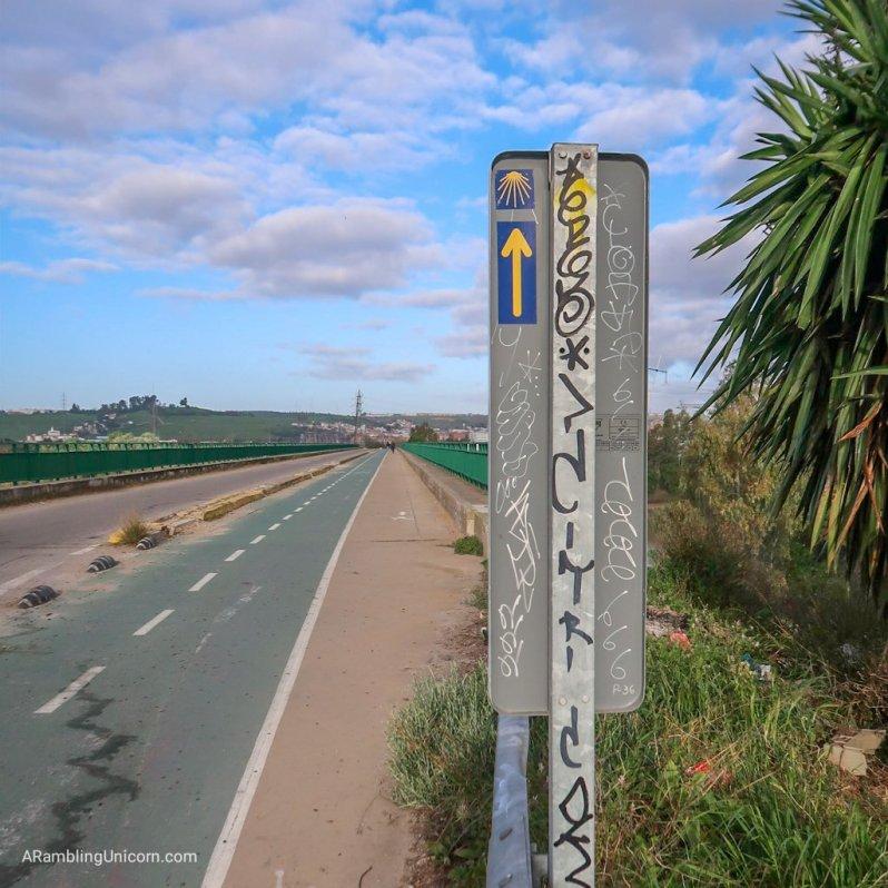 Portuguese Camino blog: Trail marker for the Camino de Santiago.