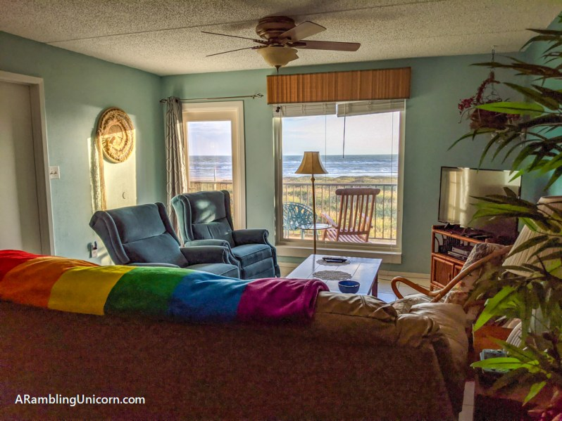 The living room in the condo that we rented for our South Padre Island vacation