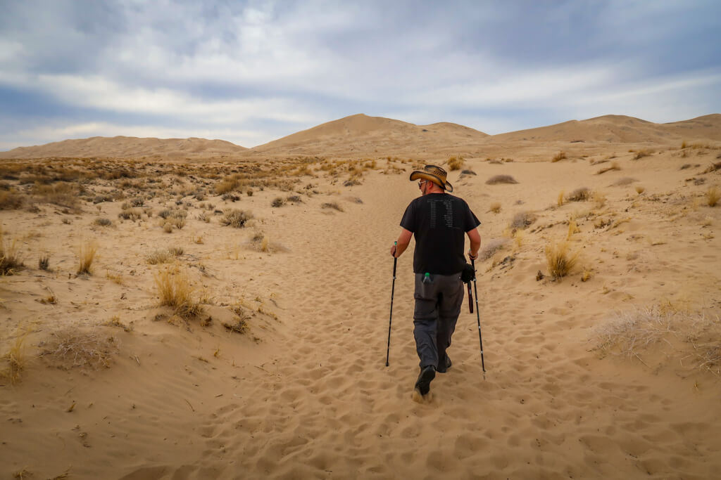 Daniel hikes the Kelso Dunes Trail, using hiking poles and wearing a broad straw hat