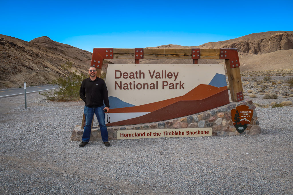 Begin your one day at Death Valley National Park with a picture by the entrance sign