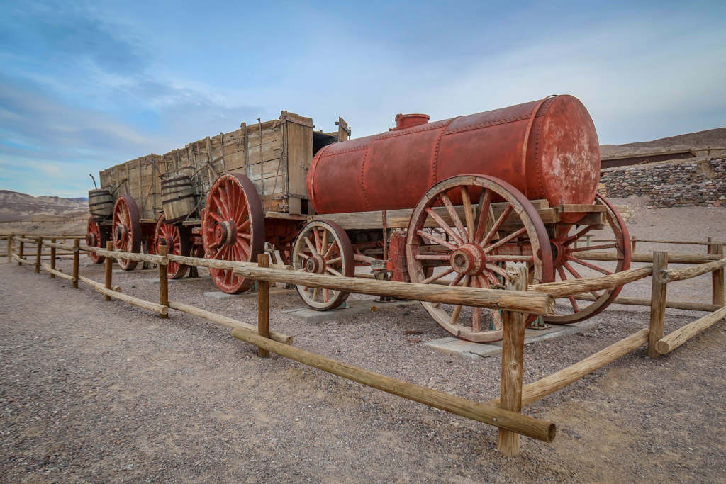 An old-fashioned wooden double wagon at the Harmony Borax Works mine