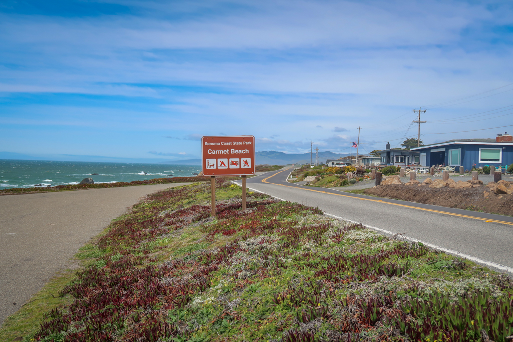 The road sign for Carmet Beach along the Pacific Coast Highway on our Northern California Coast Road Trip