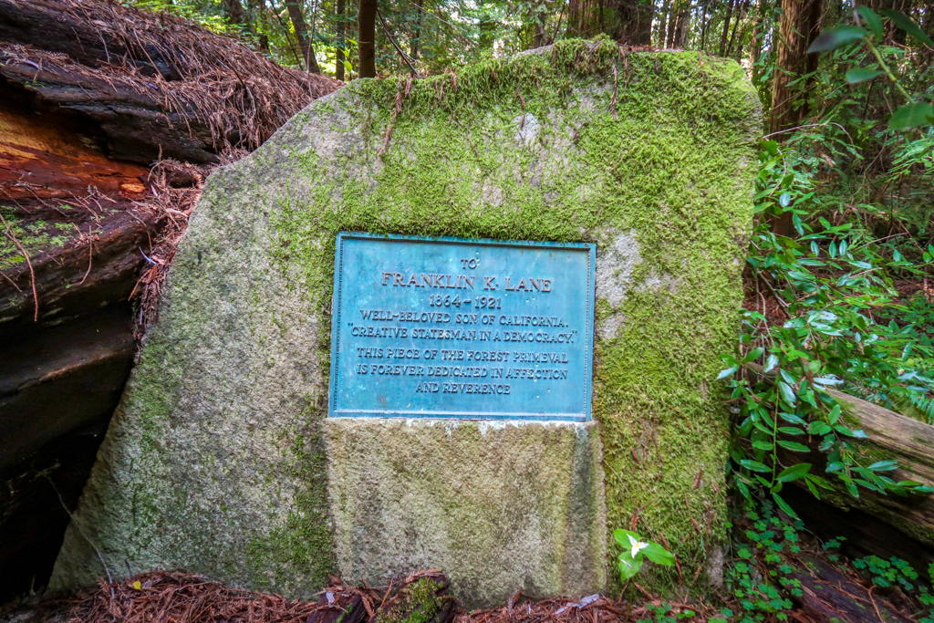 """Franklin K. Lane Memorial Plaque reads: """"To Franklin K. Lane 1864-1921 Well-beloved son of California. Creative statesman in a democracy. This piece of forest primeval is forever dedicated in affection and reverence."""""""