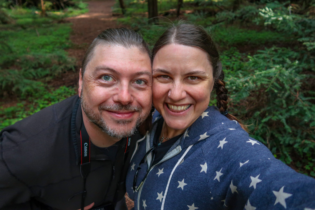 Photo of the author, Katy, and her husband, Daniel, at the Franklin K. Lane grove along the Avenue of the Giants auto tour
