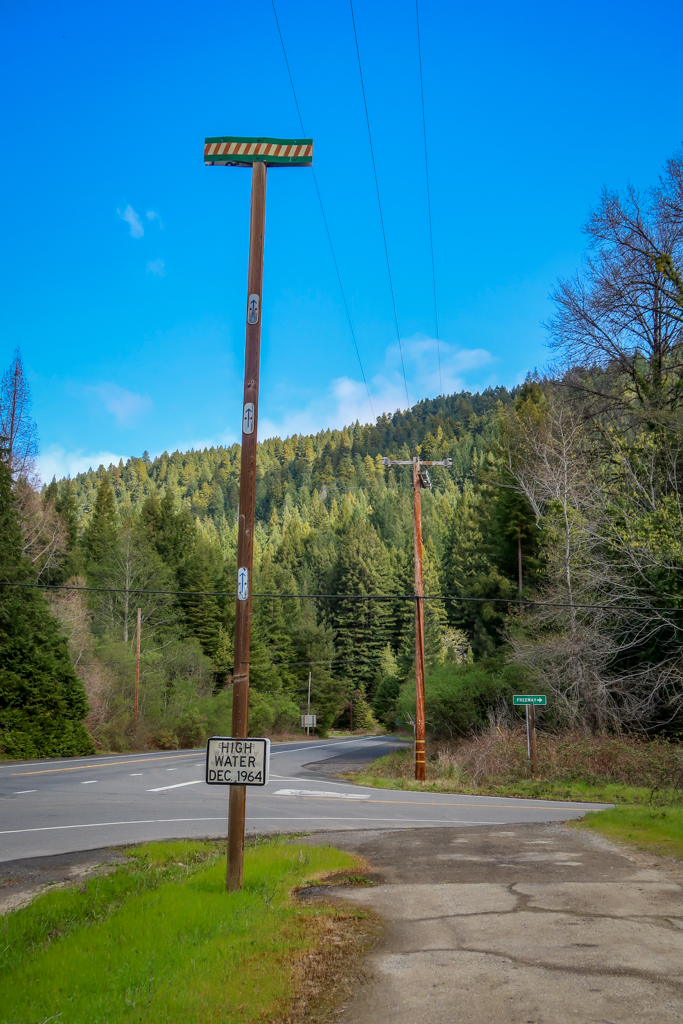 High water mark from December 1964 flood of the Eel River on the Avenue of the Giants auto tour. The mark is at the top of a 33-foot pole.
