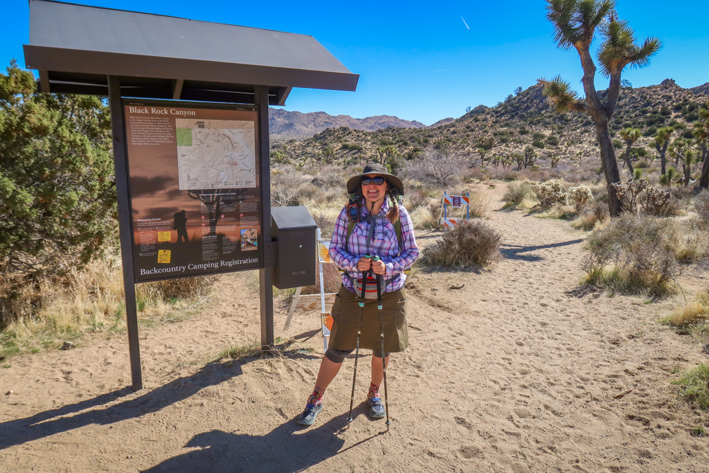 Photo of the author standing at the Black Rock Canyon Trailhead at the beginning of the California Riding and Hiking Trail