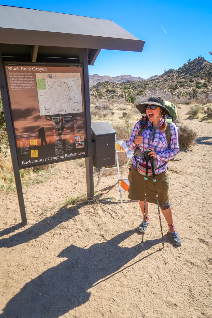 Photo of the author at the Black Rock Canyon Trailhead flashing a cheesy thumbs up sign