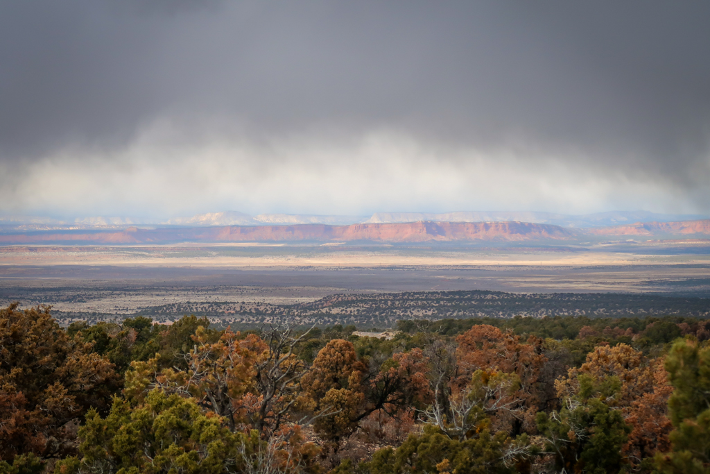 View of the Grand Staircase formation where all 5 geological layers are visible rising from plateau many miles away.