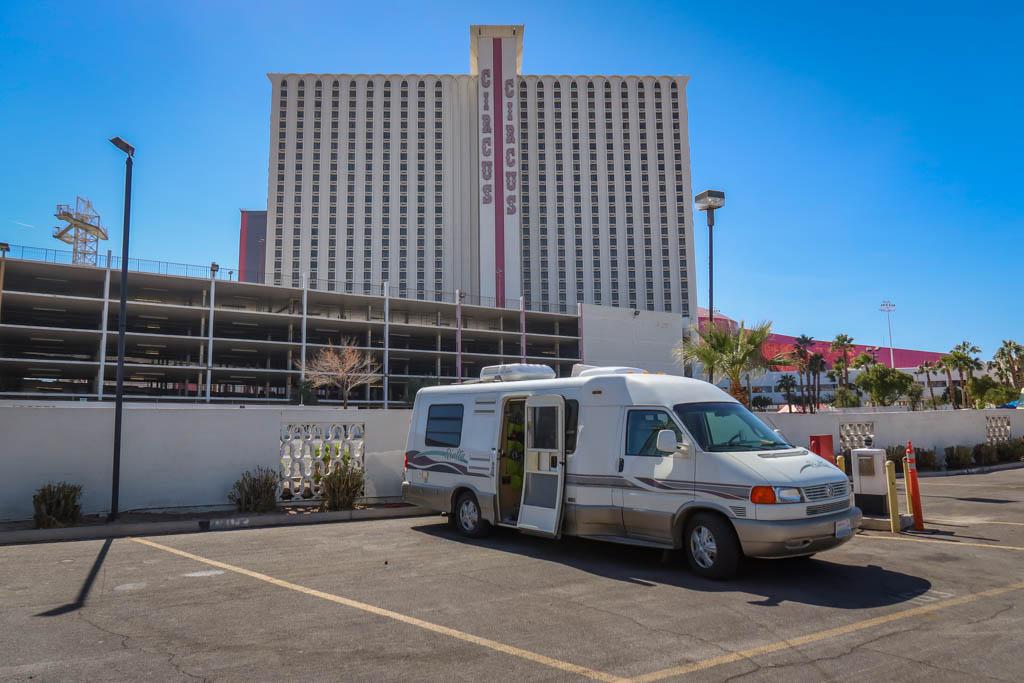 Winnebago Rialta parked at the Circus Circus campground in Las Vegas, Nevada
