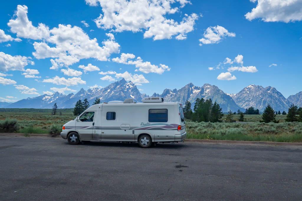 Winnebago Rialta at Grand Teton National Park, Wyoming