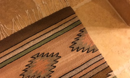 Travertine and Native American Indian rug
