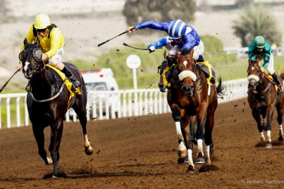 Otaared (GB) ridden by William Buick on his way to win the race sponsored by Shadewell, at Jebel Ali Race Course in Dubai.