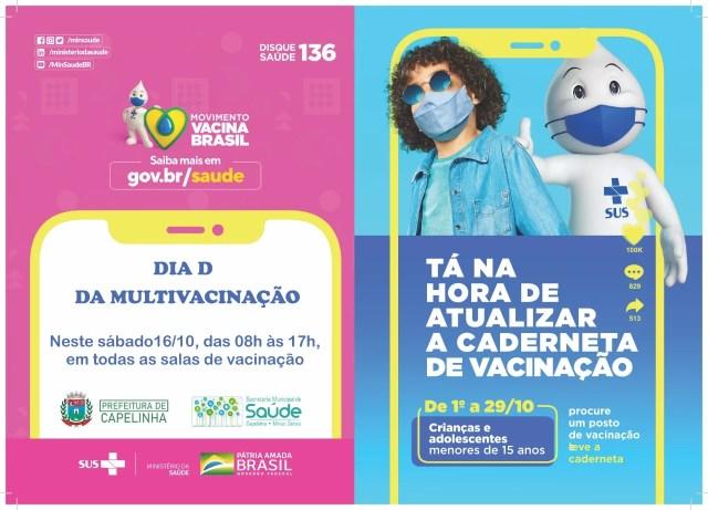 Prefeitura de Capelinha fará 'Dia D' para imunizar crianças e adolescentes em campanha de multivacinação