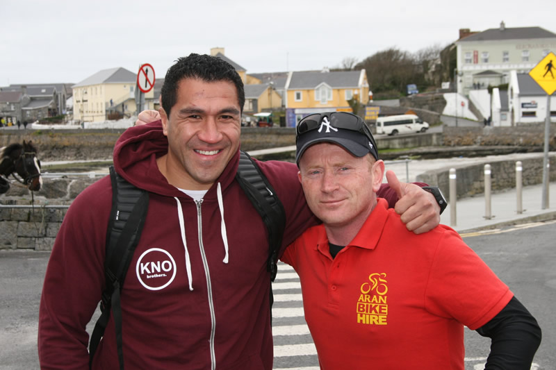 Mils Muliaina at Aran Bike Hire