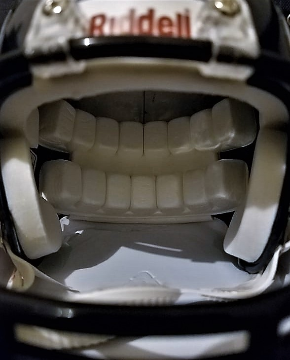 Close+up+for+mini+Riddell+NFL+football+helmet+on+April%2C+25%2C+2019.+The+helmet+is+the+most+efficient+way+to+reduce+concussions+in+tackle+football.+