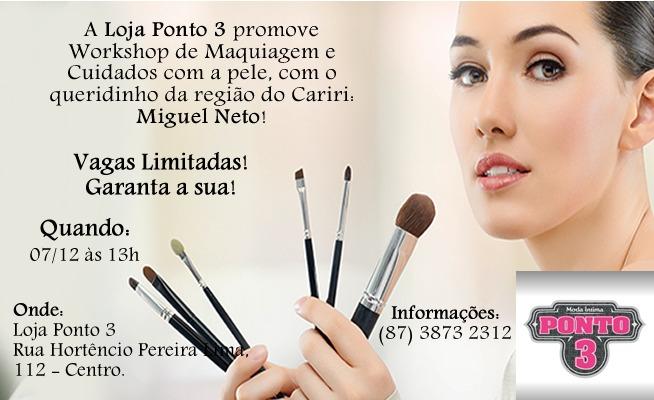 Loja Ponto 3 promove curso de Maquiagem e cuidados com a Pele. Participe!