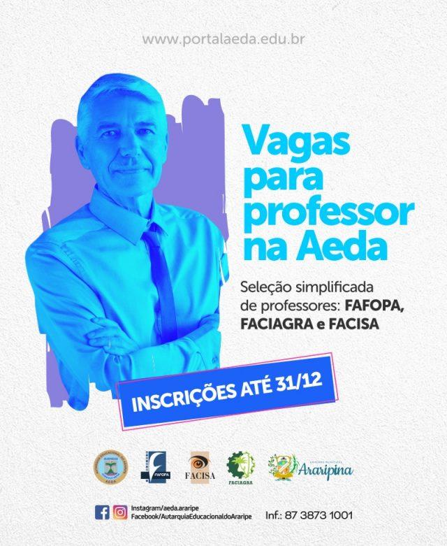 AEDA lança edital para seleção simplificada de professores. Inscrições começam hoje (12)