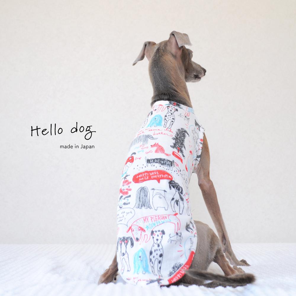 犬服 Hello dog ダブルガーゼ×杢天竺ボーダーニット 選べる3タイプ