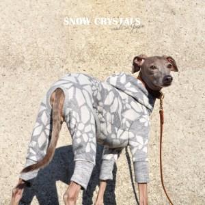 犬服 雪の結晶 杢オパールニット 選べる4タイプ×2カラー(白銀/月夜)