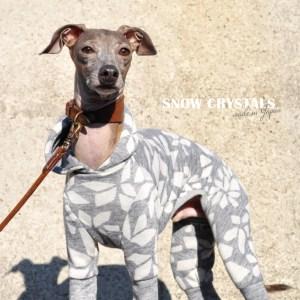犬服|雪の結晶|杢オパールニット|選べる4タイプ×2カラー(白銀/月夜)