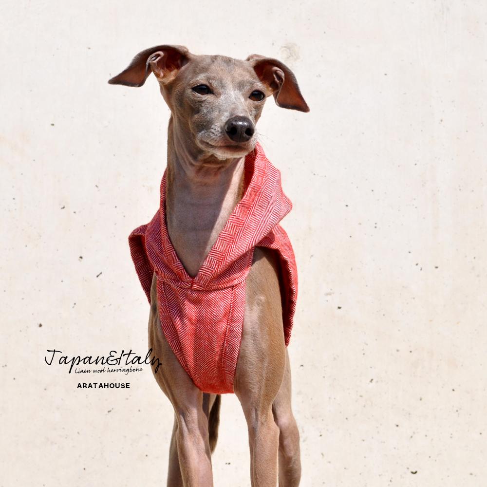 犬服 リネンウールヘリンボーン イタリア製リネン糸&日本製ウール 選べる3タイプ