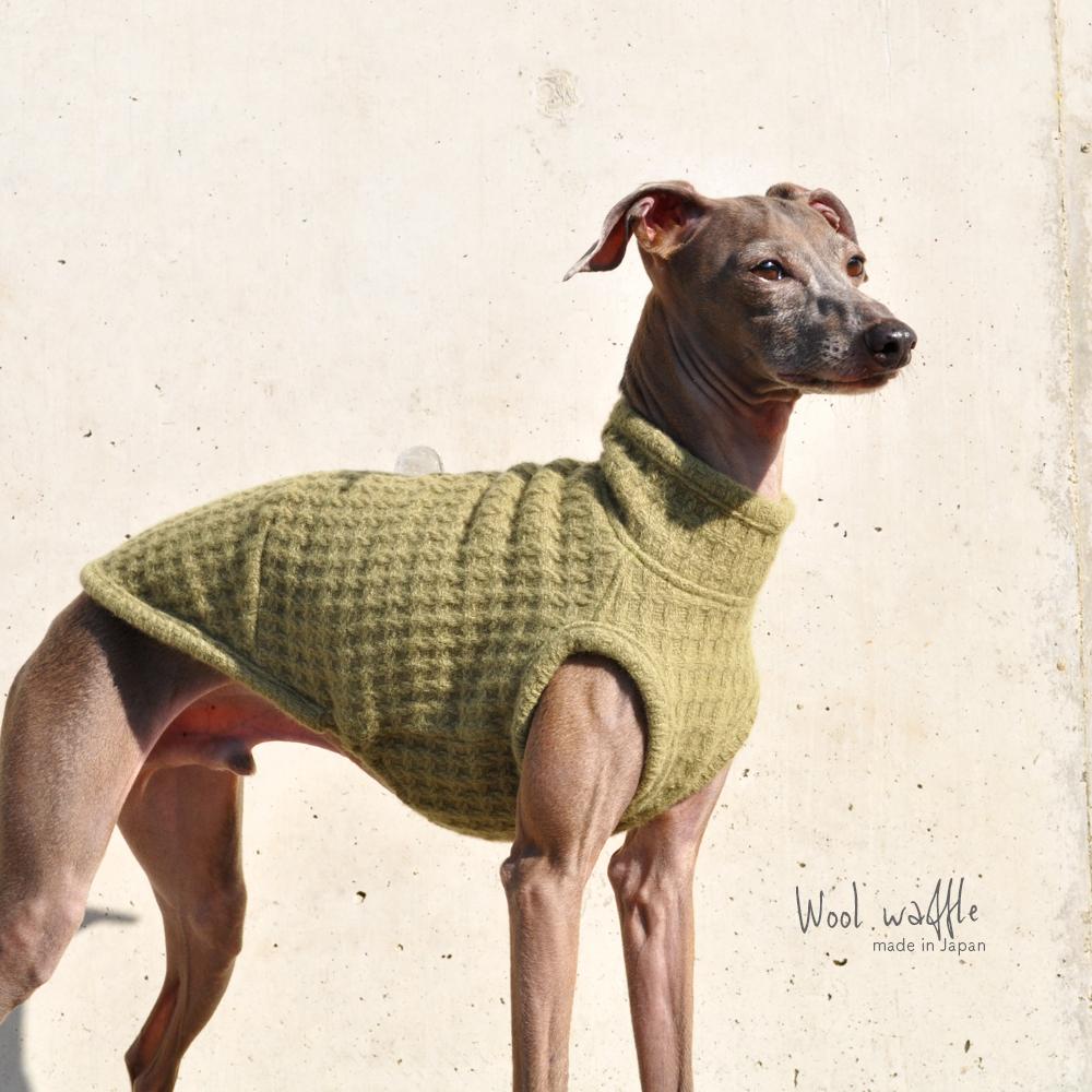 犬服|日本製ウールワッフル|選べる3タイプ(Leaf Green)