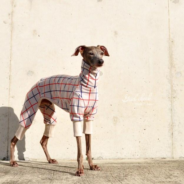 犬服|3×3グリッドチェック|日本製ジャガードニット|選べる4タイプ×2カラー(アイボリー/レッド)