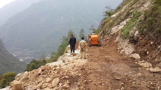 A landslide near Lachung