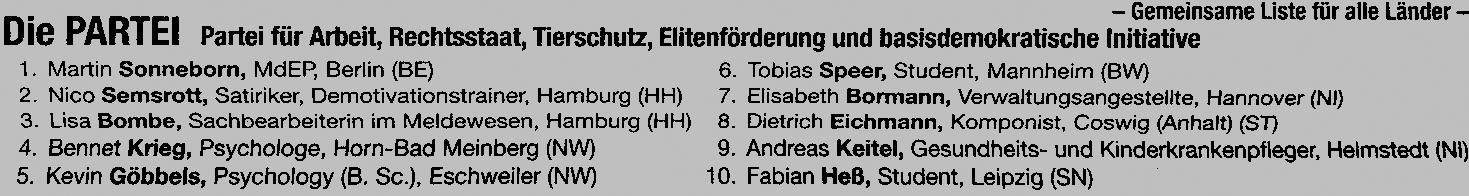 Kandidaten Die Partei EU-Wahl 2019