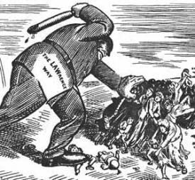 Cartoon anlässlich des Bread and Roses Streiks in der Textilindustrie von Lawrence, Massachusetts 1912.