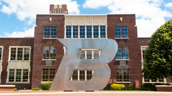 """""""The B"""" statue on Boise State campus."""