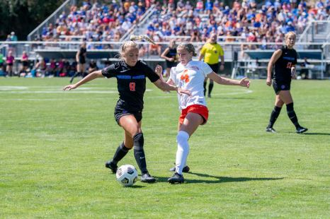Boise State women's soccer team playing against University of the Pacific