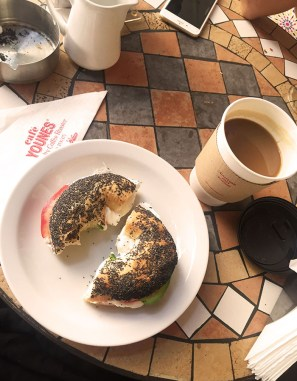 Bagel with Lebnah and Avocado and a Large Americano