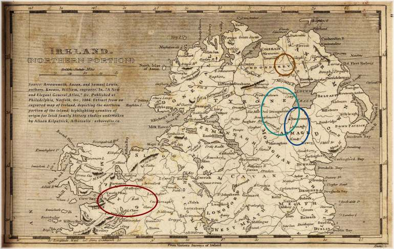 1804 map of the northern portion of Ireland, edited by Alison Kilpatrick to highlight the counties of origin for Irish family history studies undertaken by Alison Kilpatrick.