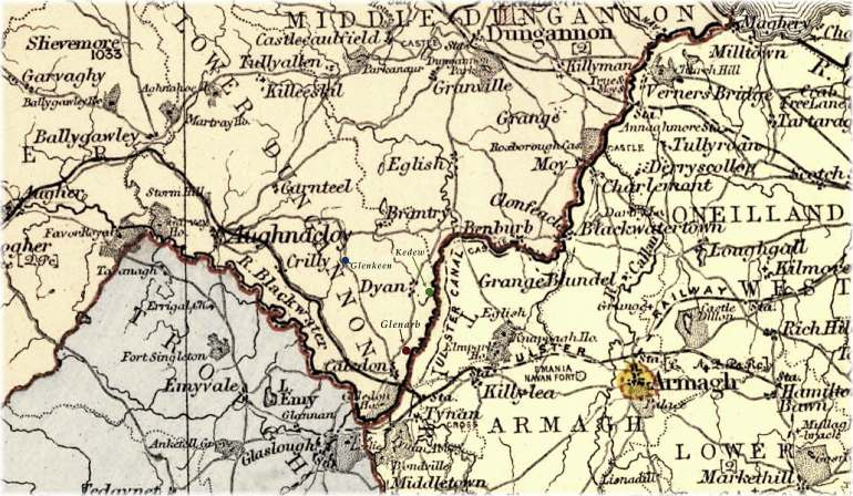 Map of Glenarb, Dyan, Kedew, and Glenkeen townlands in the parish of Aghaloo, illustrating the places where James Huggins, jun. lived.