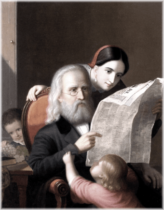 "Image of Hans Heinrich Bebie reading The Baltimore Sun newspaper with his wife, and two children nearby; to illustrate ""December 31st 1844: Transcripts from The Armagh Guardian."""