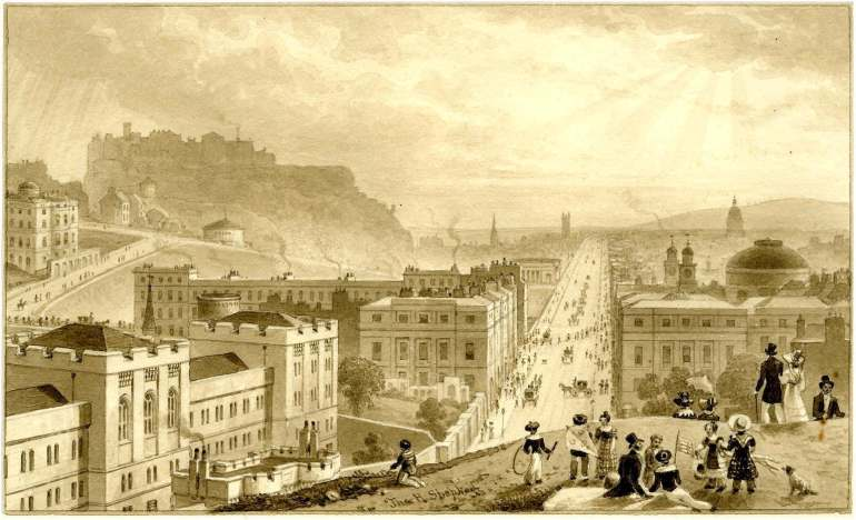 View of Edinburgh from Calton Hill, about 1817; by Thomas Hosmer Shepherd.