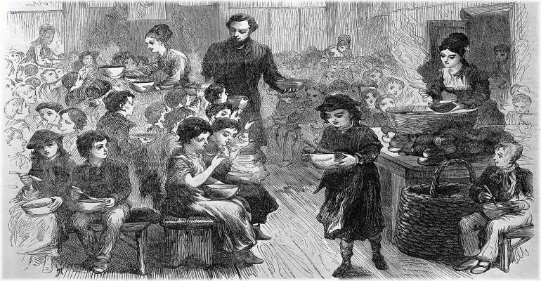 "Poor children being served halfpenny dinners in East London; to illustrate the blog article, ""Christmas Day at the Poor-house in Armagh,"" in 1844."