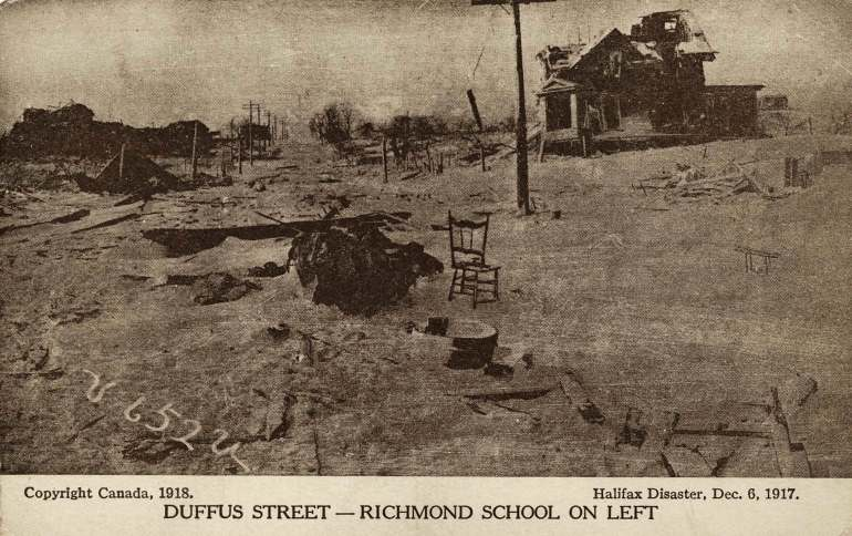 Duffus Street, with Richmond School on left, which was destroyed in the Halifax Explosion of 6th December 1917.