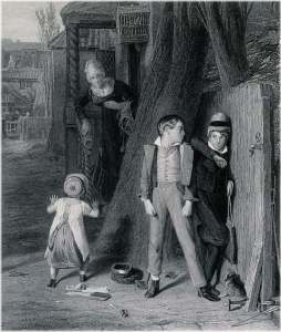 "A Victorian era engraving of wo boys hiding from their mother; to illustrate the blog article, ""Family history mystery: Adam & Robert Kilpatrick of Lislea."""
