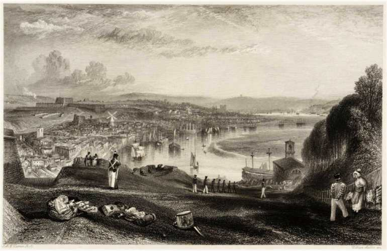 View of Chatham, Kent in 1832, where John Burke and Mary McDonnell lived from 1825–1839.