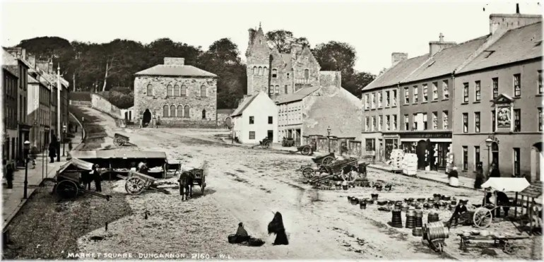 Photograph of Market Square in Dungannon, county Tyrone, taken by Robert French c.1871–1890; to illustrate just one of the many aspects of Irish local history studies.