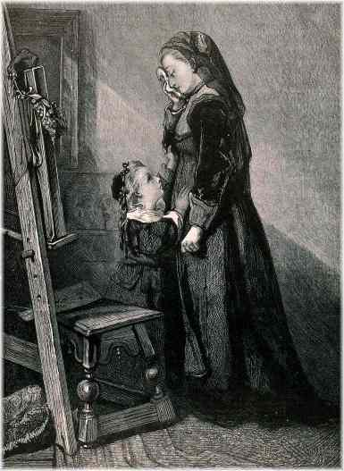"""A wood engraving sympathetic to Mary McDonnell whose husband, John Burke, died in 1839, leaving her a widow; to illustrate the page entitled, """"The lot of the soldier's wife was unenviable."""" The wife was Mary McDonnell, the widow of John Burke."""