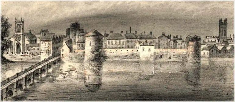 Limerick in 1830, painted by Alphonse Dusseau. The 39th Regiment of Foot was posted to Limerick in 1823–1824.