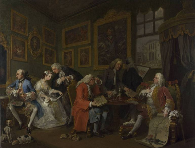 """William Hogarth's painting of """"The Marriage Settlement,"""" c.1743, depicting the several parties thrashing out the details; illustrating the blog article on Arborealis entitled, """"Marriage settlement of Wm. Stevenson & Eliz. Fleming (1716)."""""""